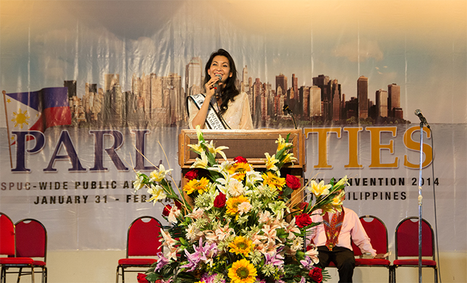 """""""Standing true to your principle will not dissuade you from doing right amidst hostile situations,"""" testified Ms Joyce Pilarsky, the reigning Ms Magnificent Woman Icon 2013-2014, as she spoke during the Festival. [Photo by Rhoen P Catolico]"""