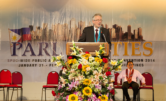 """Many thousands of Adventists in other parts of the globe would want to be here with us, but they cannot. You must be so privileged to have this freedom to come and worship God,"" said Dr John Graz, director of Public Affairs and Religious Liberty of the Seventh-day Adventist World Church, as he opened his message at the Festival of Religious Freedom held in Davao City, Philippines, February 1. [Photo by Rhoen P Catolico]"